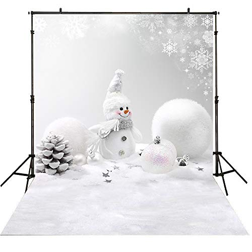 Allenjoy 5x7ft Nature Winter Merry Christmas Snowman Photography Backdrop and Studio Props White Snow Snowflake Xmas Eve Photo Background Children Party Decoration Banner ()
