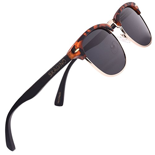 SKADINO Clubmaster Bamboo Wood Sunglasses with Polarized Lens-Brown with Grey - Shell Sunglasses Clubmaster Tortoise