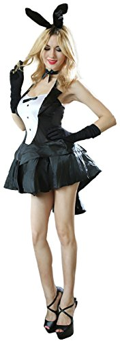 [Black Tux and Tails Women's Sexy Bunny Costume Inc Head-dress, Dress, Gloves, Bow-tie] (Bunny Dress Tux Tails Adult Costumes)