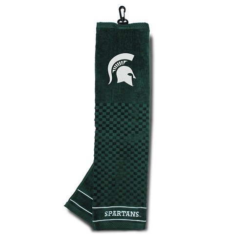 Team Golf NCAA Michigan State Spartans Embroidered Golf Towel, Checkered Scrubber Design, Embroidered Logo