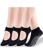 Yoga Socks for Women,Non Slip Grip Socks Ideal for Yoga, Pilates, Pure Barre, Ballet, Dance, Barefoot Workout, 4 Pairs(Black)
