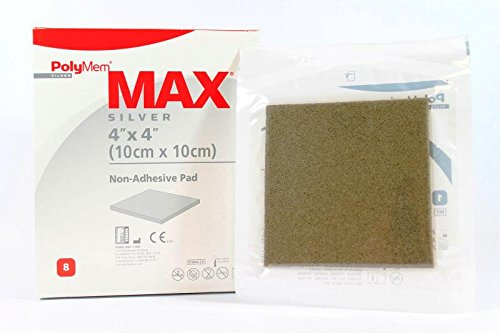 PolyMem Max Non-Adhesive Wound Dressing, Super Thick, Foam, 4' X 4' Pad, 1045 (Box of 8)