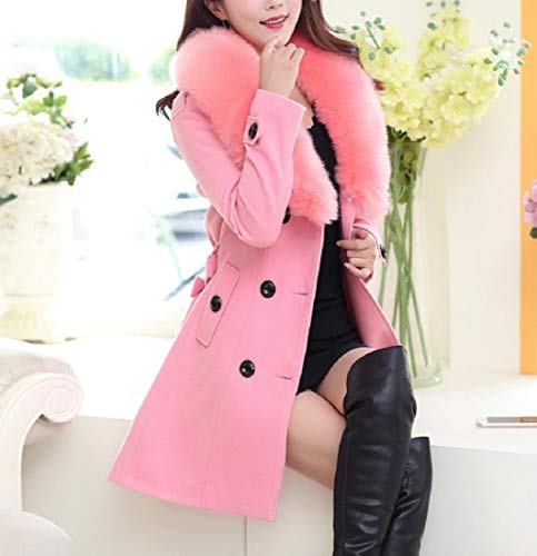 Pink Simplicity Bowknot Women Wrap Coat Windbreakers Collo Pelliccia Pea Di Sankt T6gvx