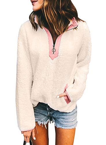 Sidefeel Women High Neck Zipper Front Fleece Pullover Top Po