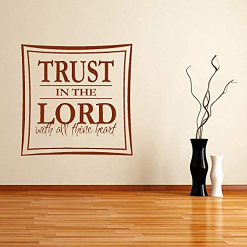 Vinyl Wall Statement Family DIY Decor Art Stickers Home Decor Wall Art Trust in The Lord Bible Verse Christianity Home Decor Living Room Room -