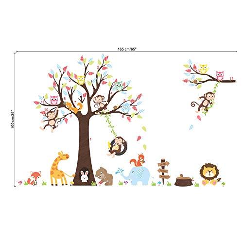 linshel Lovely Animals Tree Wall Stickers for Kids Room Kindergarten Decoration Monkey Giraffe Elephant Safari Mural Art DIY Home Decals ()