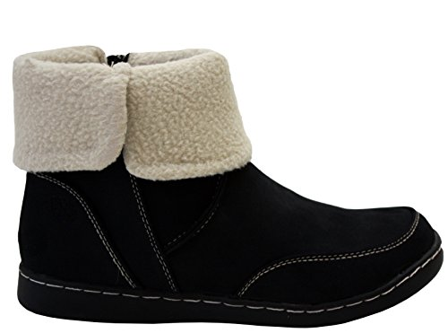 Up Ankle Casual UK amp;H Boots Winter Snow Natrelle Black Shoes Fleece A Womens 8 Warm Sizes 3 Zip Footwear Ladies Lined C0qxxOwA1