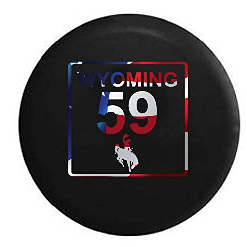 Flag - Wyoming State Route Highway 59 Cowboy Scenic Road Sign Spare Tire Cover OEM Vinyl Black 33 in