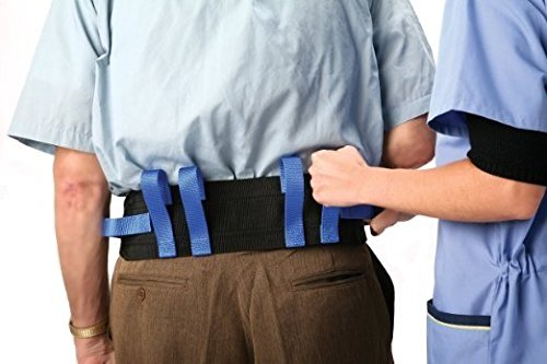 "Medical Gait Belt, Soft Nylon Transfer Belt With 6 Handles And Quick Release Buckle, Machine Washable - Back 4"" Front 2"" High Design For Maximum Comfort - Ideal To Ambulate Patients Safely"