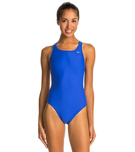 Nike Swim Women's Nylon Core Solids Fast Back Tank One Piece Swimsuit, Game Royal