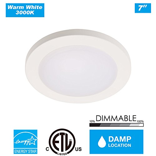 "Cloudy Bay LED Flush Mount Ceiling Light,7.5"",120V 12W 840LM(100W Incandescent Equivalent),Dimmable,3000K Warm White,ETL/JA8,Wet Location,White Finish"