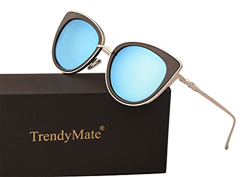 TrendyMate Women Metal Cute Cat Eye Mirror Sunglasses Fashion Eyewear