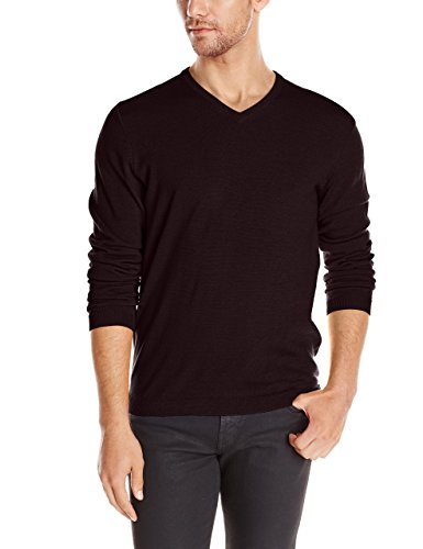 Calvin Klein Men's Extra Fine Merino Wool V-neck Sweater Dark Chestnut SIZE:M new with tag - Fine Merino Wool Sweater