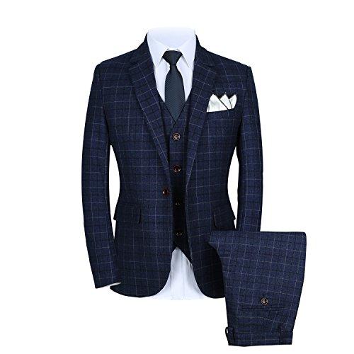 Mens One Button Slim Fit Plaid Suit Blazer+Vest+Pants US Size 37 (Lable 3XL) Blue