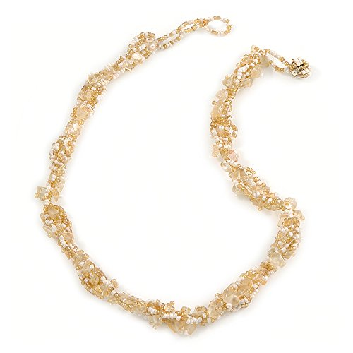 Twisted Nugget - Avalaya White/Gold Glass Bead and Nugget Twisted Cluster Necklace - 41cm L/ 3cm Ext