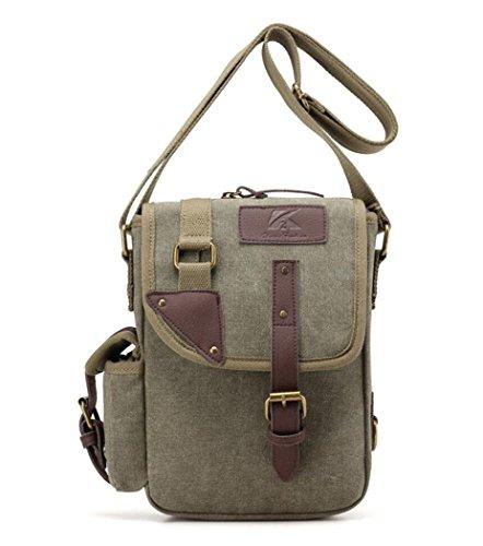 Small Vintage Canvas Travel Crossbody Shoulder Messenger Bag for iPad mini Belt Clip Cellphone Purse Army Green (Belted Mini Belt)