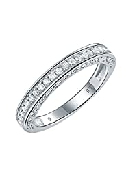 Newshe Stackable Band Wedding Engagement Ring for Women 925 Sterling Silver CZ Eternity 2.5mm Size 5-12
