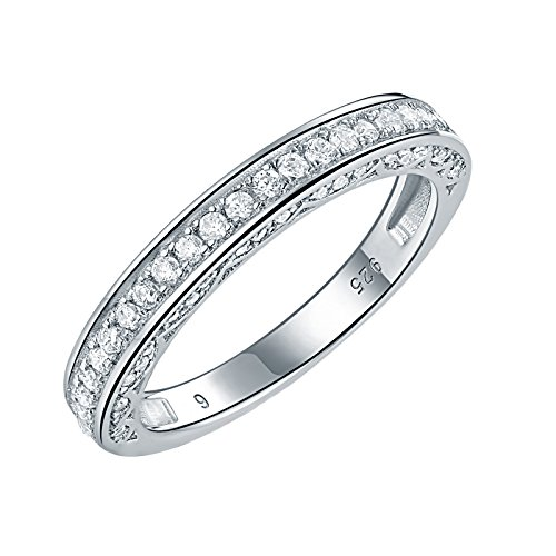 Newshe Stackable Band Wedding Engagement Ring for Women 925 Sterling Silver CZ Eternity 2.5mm Size - Sapphire Wedding Titanium Bands