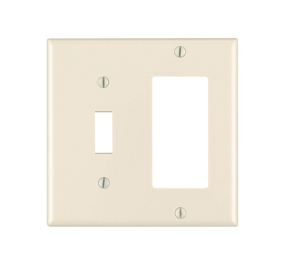 Leviton 80405-T 2-Gang, 1-Toggle 1-Decora/GFCI Combination Wallplate, Standard Size, Thermoset, Device Mount, Light Almond, 1-Pack