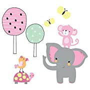 Bedtime Originals Twinkle Toes Jungle Elephant Wall Appliques, Pink