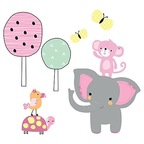 Toe Animal - Bedtime Originals Twinkle Toes Jungle Elephant Wall Appliques, Pink