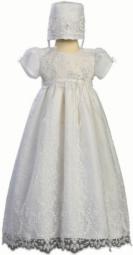 Embroidered Tulle Christening Baptism -Size M (6-12 Months) by Swea Pea & Lilli