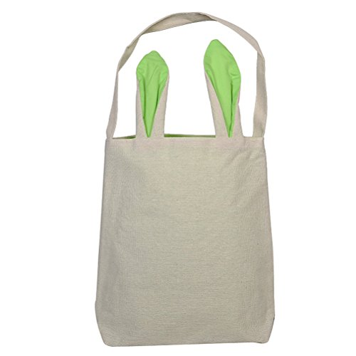 OULII Easter Bags Baskets Bunny Ear Bag Easter Gift Bag DIY Easter Eggs Packing Dual Layer Jute Tote Bag Party Favor (Green)