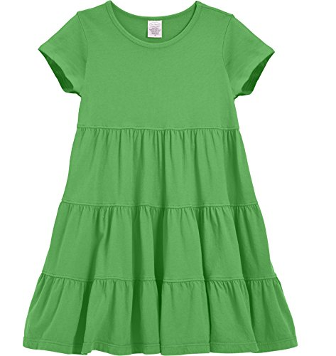 City Threads Little Girls' Super Soft Cotton Short Sleeve Tiered Dress For School Park Play and Party, Elf, (Little Threads)