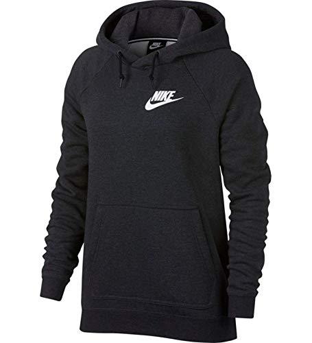 Nike Sportswear Rally Women's Hoodie (Small, Black Heather/White)