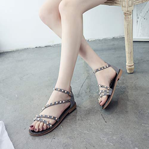 Cewtolkar Women Sandals Studded Shoes Flat Sandals Cross Strap Shoes Bohemia Sandals Loafers Shoes Roman Sandals Gray by Cewtolkar (Image #6)