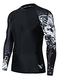 FAFNIR Mens Rash Guard UV Protection Long Sleeve Skin Tight Compression Swim Shirt