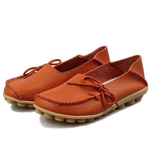 Oriskey Mocasines de cuero mujer Loafers Casual Zapatos Zapatillas Naranja