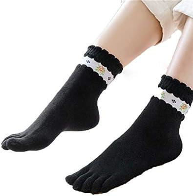 HYZ Mujer Tubo de Cinco Dedos Calcetines algodón de la Muchacha de ...