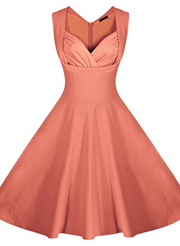 [Miusol Women's Cut Out V-Neck Vintage Casual 1950'S Retro Bridesmaid Dress (XX-Large, Light Orange)] (1950 Dress)