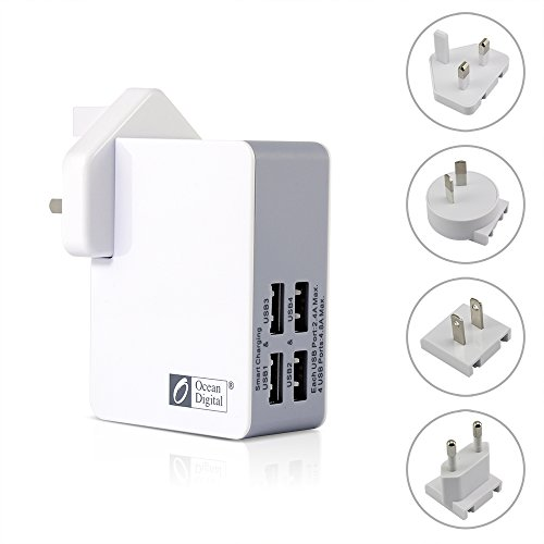 Ocean Digital USB Ladegerät 4 Port Ladegerät mit UK US EU AUS tragbare Reise Ladegerät Universal Power Adapter Konverter für Handy Tablette Apple iPhone iPad Samsung Galaxy Smartphone - Weiß