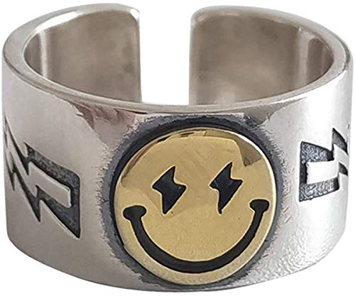 H.D.S.N. Smiling Face Rings Vintage Bands Smiley Ring Wide Chunky Jewelry for Women Men (Gold)
