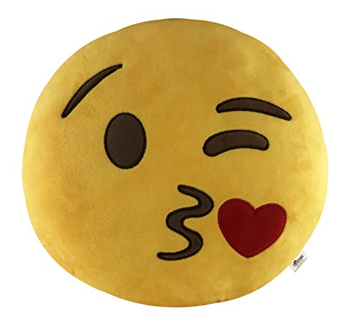KINREX Emoji Party Supplies - Blow Kiss Pillows - 35cm - Soft Decorative Huge Emojis Cushion/Pillow - Birthday Party Favors and Decorations - Gifts for Women, Kids and Adults by KINREX