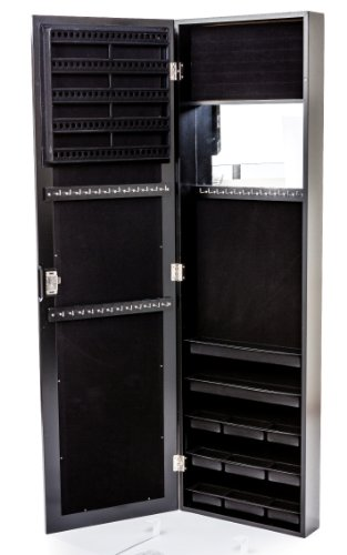 Black Wall Mounted Jewelry Armoire With Mirror Over The