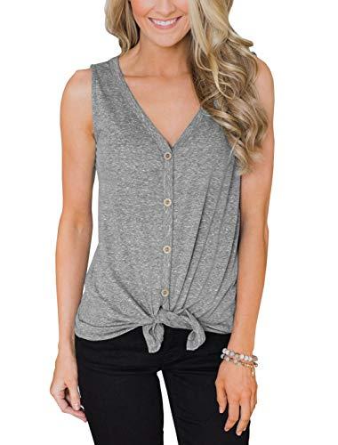 (PRETTODAY Women's Tie Front Button Down Shirts Summer Sleeveless Tank Tops Gray)