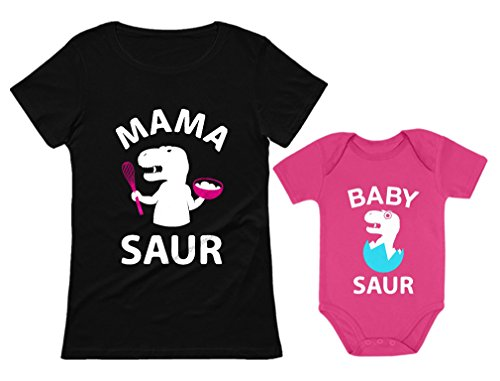 Mama Saur - T-Rex Mom & Baby Saur Matching Outfit Mommy & Me Matching Set Mom Black Large/Baby Wow Pink Newborn (0-3M) -