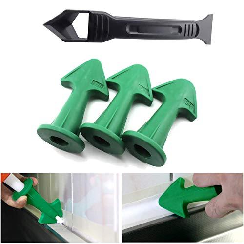 Caulk Nozzle and Scraper Set, Silicone Caulking Finisher (3 Different Radius)