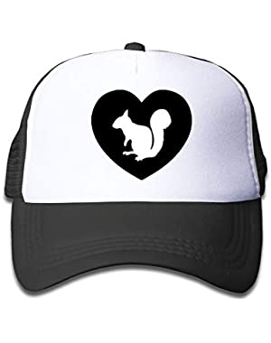 I Heart Love Squirrel On Boys and Girls Trucker Hat, Youth Toddler Mesh Hats Baseball Cap