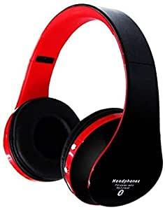 Foldable HIFI Surround Sound Wireless red nd black Stereo Bluetooth Headphone Headset With Mic