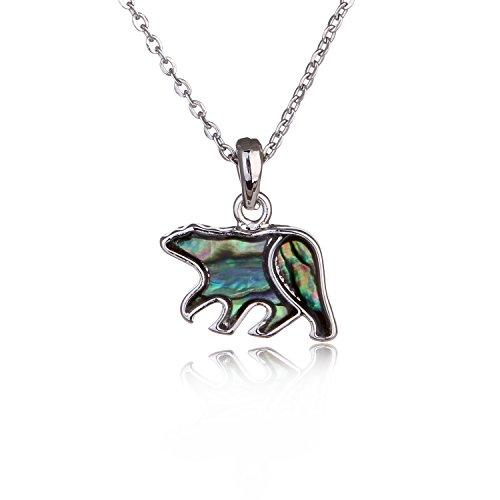 Barch Blue Abalone Paua Shell Polar Bear Pendant Necklace Silver with Wax Cord/Stainless Steel Chain (Little Polar Bear) ()