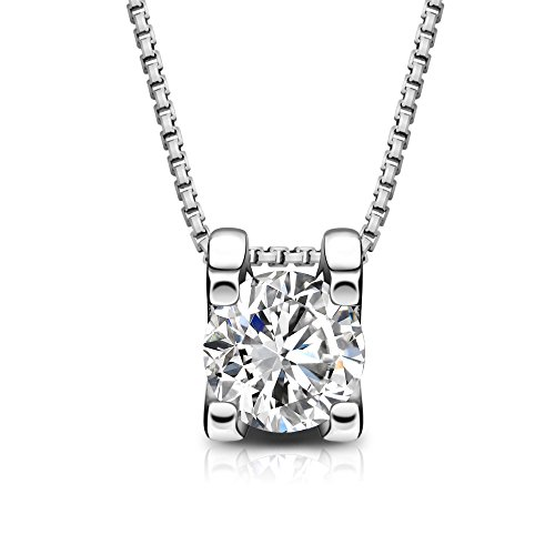 T400 Jewelers 925 Sterling Silver Box Chain Necklace Made with Swarovski Zirconia,Square Shape pendant,16