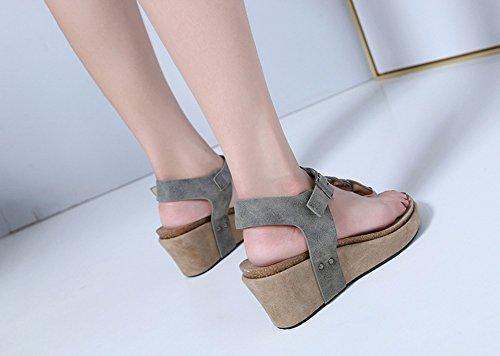 Round Sandales Femmes Toe Bohème Peep Compensées Tongs Zonlin Chaussures Plage Gris D'été qf5HU