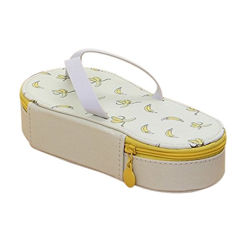 WeiMay Canvas Slippers Shaped Pen Brushes Makeup Pencil Case Felt Canvas Pouch Bag Holder for Students Boys Girls(Banana)
