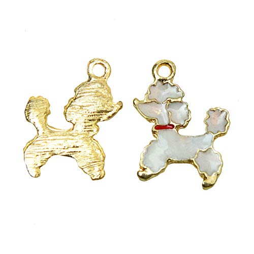 Monrocco 10pcs White Enamel Poodle Charm Bead for Bracelets Crafting, Jewelry Making, Necklace, Earrings