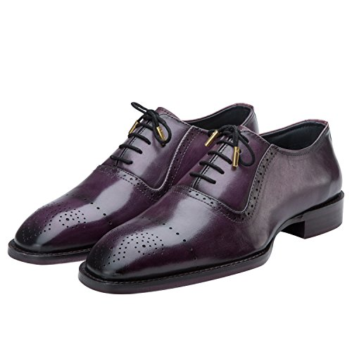 Lethato Brogue Oxford Handcrafted Men's Genuine Leather Lace up Dress Shoes with Golden Color Metal Aglets Shoelace Tips- Purple