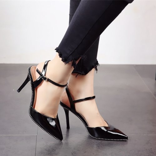 superficial sexy de stilettos zapatos verano señaló primavera cuero sandalias boca a FLYRCX Señoras remaches zH5qPfxw